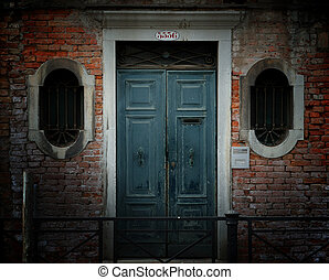 Weathered Doorway, Venice - Crumbling weathered entrance to...