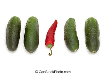 red pepper and cucumber - series object on white - food -...