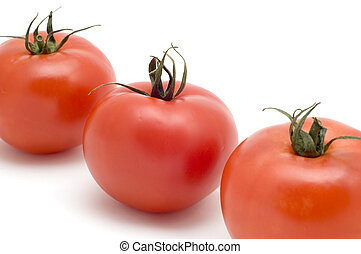 Three tomato close up - series object on white - food -...