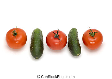 tomato and cucumber - series object on white - food - tomato...