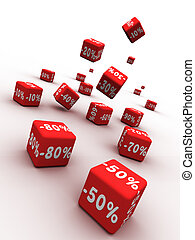 Discount - Symbols of percent on falling red cubes.