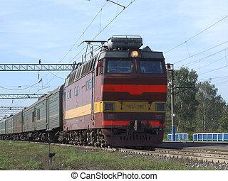 A train on railway in Russian