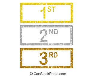 3 Grunge Office Stamps - 1st 2nd and 3rd - 3 Grunge Office...