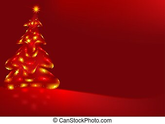 Red Abstract Christmas Tree - detailed illustration as...