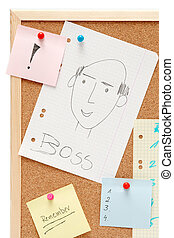 Corkboard - Colorful paper stickers on a corkboard