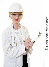 Lady science engineer - Attractive blond woman in white lab...