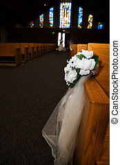 Church flowers - Flower arrangement in a church on side of...