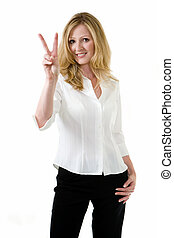 Peace sign - Attractive blonde woman in white blouse and...