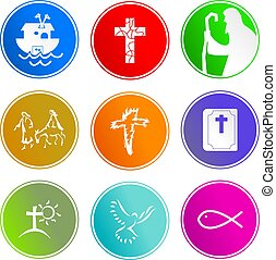 Christian sign icons - collection of Christian sign icons...
