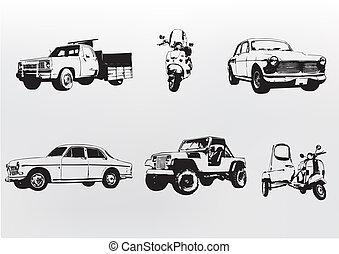 Silhouette cars illustration of old vintage custom...