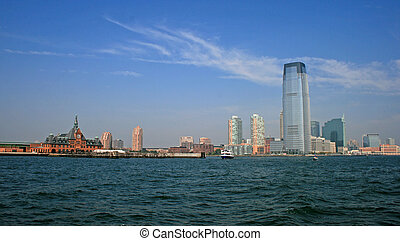 The Jersey City skyline from a tour boat