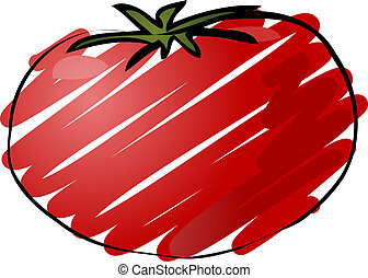 Tomato sketch - Sketch of a tomato Hand-drawn lineart look...