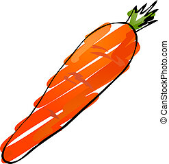 Carrot sketch - Sketch of a carrot. Hand-drawn lineart look...