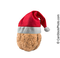 nut in christmas hat - christmas; decorations; hat; holiday;...