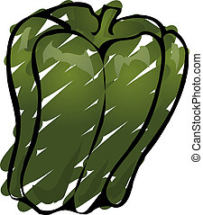 Bell pepper - Sketch ofa bell pepper Hand-drawn lineart look...