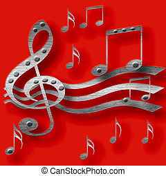heavy metal music - 3d metal music notes on red background...