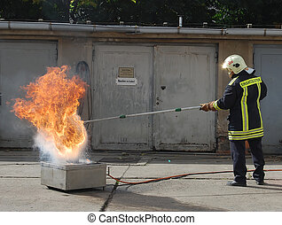 fire fighter - Firefighter at work