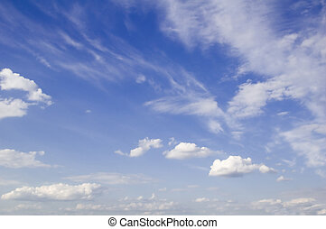 cirri clouds - leaden clouds. grey clouds and blue sky