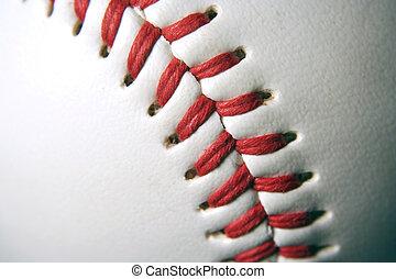 Baseball Macro - A white Baseball Macro with red stitching