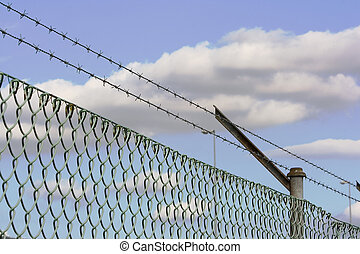 fence - barbed wire fence as a security system