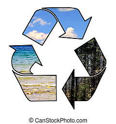recycle arrows wrapped around a planet water sky and forest