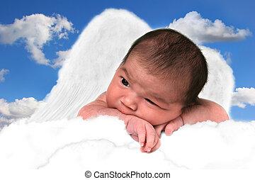 adorable, bebé, niña, mariposa