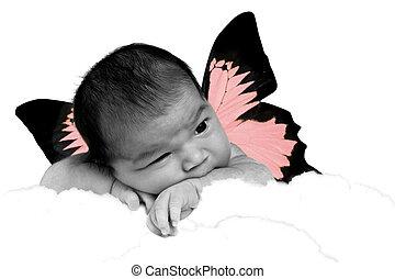 mariposa, bebé, niña,  adorable