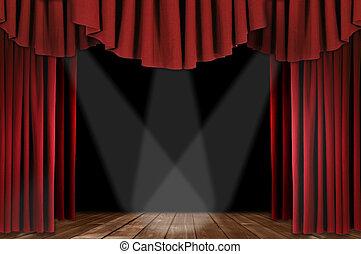 vermelho, teatro, cortinas, com, triplo, holofote