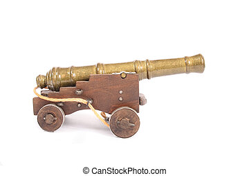 old cannon - model of old cannon on the white background