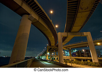 highways intersection - night highway connection with...