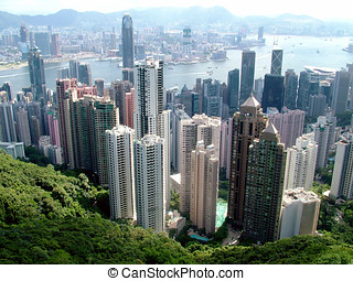 Hong Kong Central - View from Peak Hill of Hong Kong City