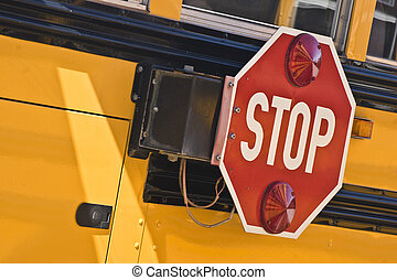 Stop for School Busses - Auto Stop sign on school bus