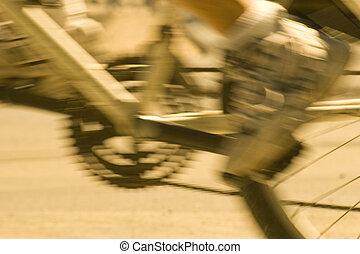 motion blurred bike wheel