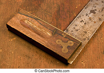 antique tools - Wood working tools on a worn worktable
