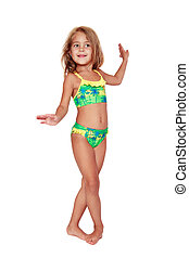 Dancing girl - Pretty tanned little girl in swimsuit dancing...