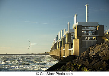 Storm surge barrier in Zeeland, Holland Build after the...