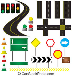 automotive - collection of road markings and sign that can...