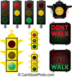 traffic signals - Collection of traffic signals in different...