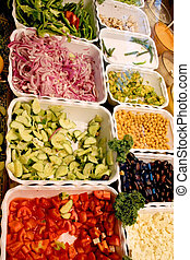 Food Trays - deli and salad bar with colorful food trays