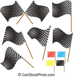 checkered flag - Illustrated checkered flag in different...