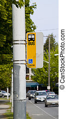 Bus Stop - A bus stop on a busy street in Seattle, WA.