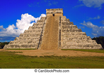 Chichen Itza - An ancient Mayan pyramid on a sunny summer...