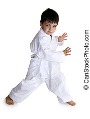 White Belt - Four year old boy showing off his karate moves...