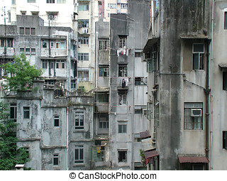 Poverty in the Slums - Run Down Living Quarters in Hong Kong
