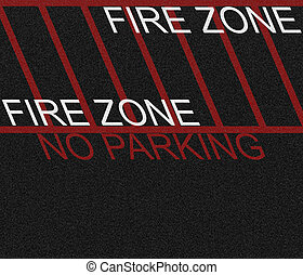 Fire Zone Area - Black asphalt marked as a fire zone and no...