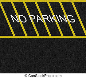 No Parking Zone - No parking zone marked on black asphalt.