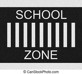 School Zone - School zone paint on black textured asphalt