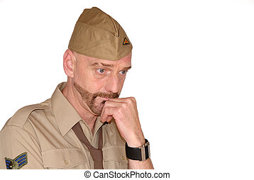 Soldier, in thought - Attractive, mid fifties bearded...