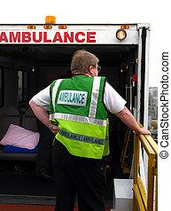 Ambulance man at work - Ambulance resque team at work at the...