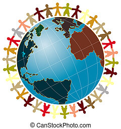 World peace and world globe consept illustration.